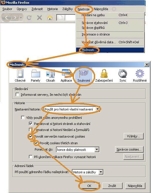 Nastavení přijímání cookies pro přihlašovaní na serveru Kurzy.cz pro Mozilla Firefox