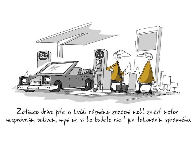 Kreslený vtip: Zatímco dříve jste si kvůli různému značení mohl zničit motor nesprávným palivem, nyní už si ho budete ničit jen tankováním správného. Autor: Marek Simon