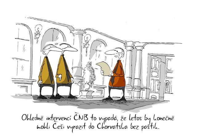 Kreslený vtip: Ohledně intervencí ČNB to vypadá, že letos by konečně mohli Češi vyrazit do Chorvatska bez paštik. Autor: Marek Simon