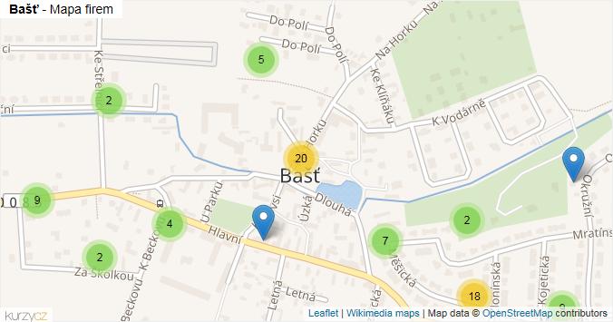 Bašť - mapa rozložení firem v obci.