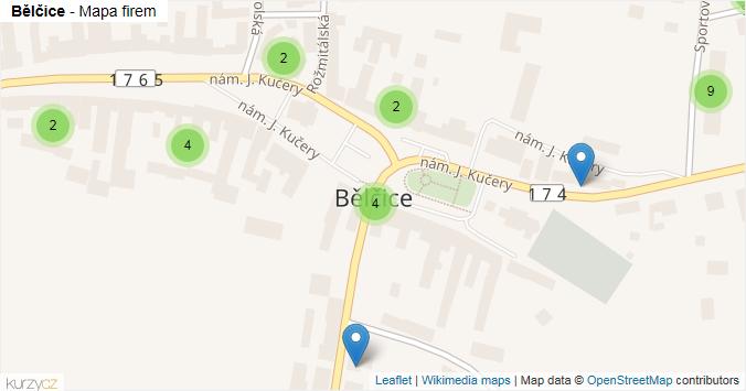 Bělčice - mapa rozložení firem v obci.