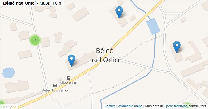 Běleč nad Orlicí - mapa rozložení firem v obci.