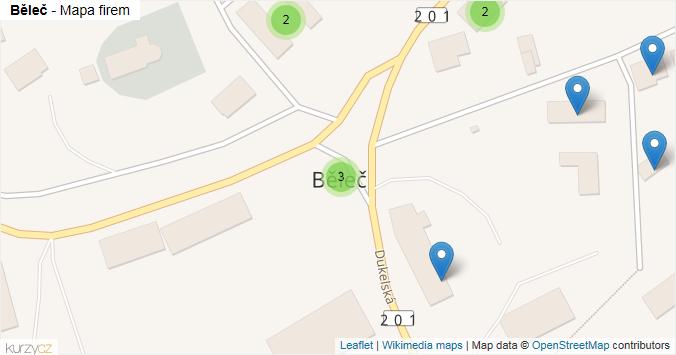 Běleč - mapa rozložení firem v obci.