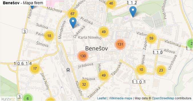 Benešov - mapa rozložení firem v obci.