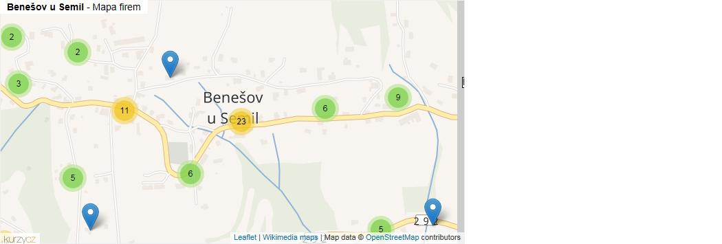 Benešov u Semil - mapa rozložení firem v části obce. ee3a3cf2bbd