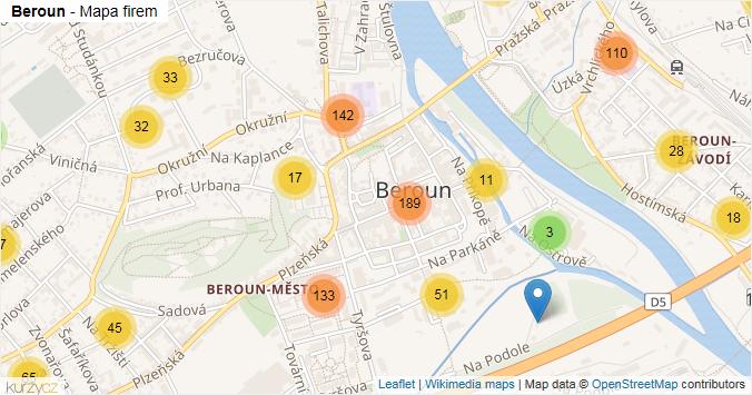 Beroun - mapa rozložení firem v obci.