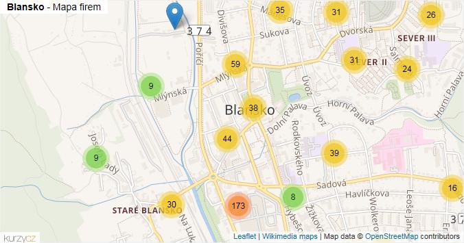 Blansko - mapa rozložení firem v obci.