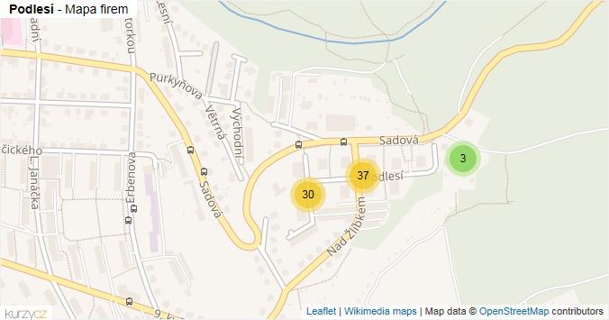 Podlesí - mapa rozložení firem v ulici.