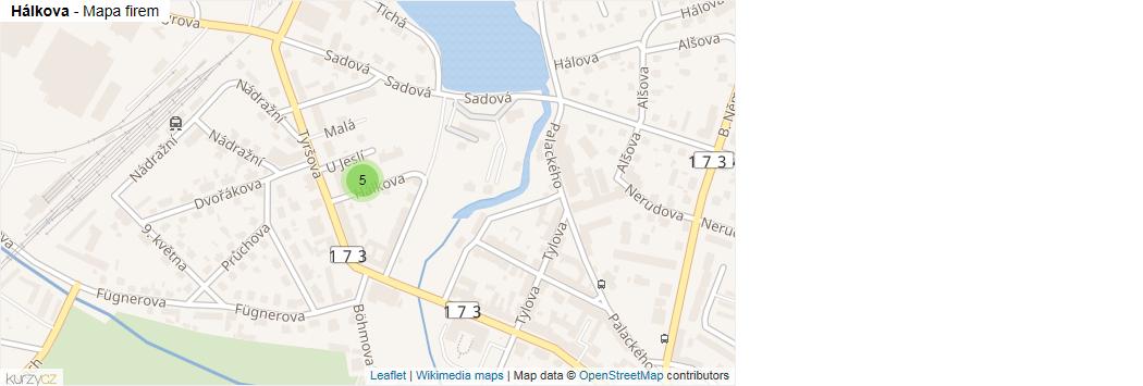 Hálkova - mapa rozložení firem v ulici.