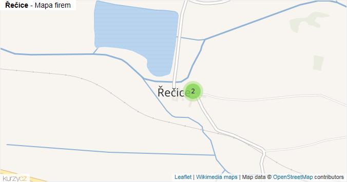 Řečice - mapa rozložení firem v části obce.
