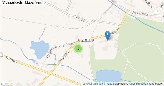 V Jezárkách - mapa rozložení firem v ulici.