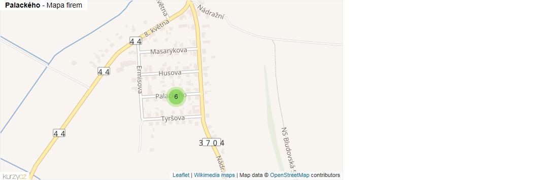 Palackého - mapa rozložení firem v ulici.