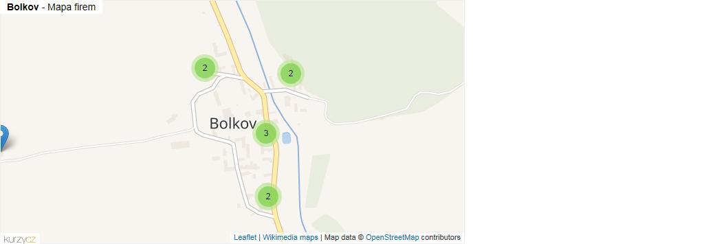 Bolkov - mapa rozložení firem v části obce.