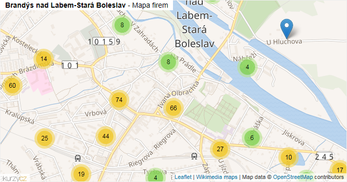 Brandýs nad Labem-Stará Boleslav - mapa rozložení firem v obci.