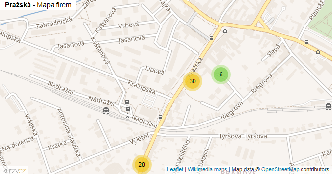Pražská - mapa rozložení firem v ulici.