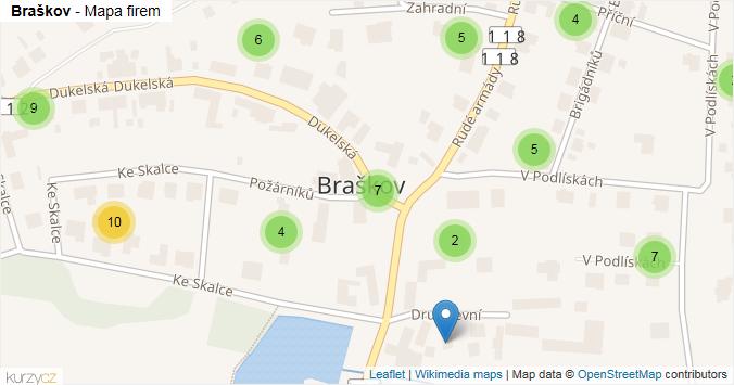 Braškov - mapa rozložení firem v obci.