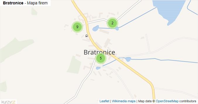 Bratronice - mapa rozložení firem v části obce.