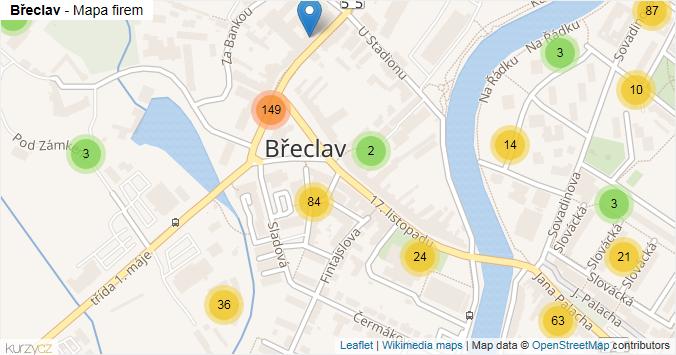 Břeclav - mapa rozložení firem v části obce.
