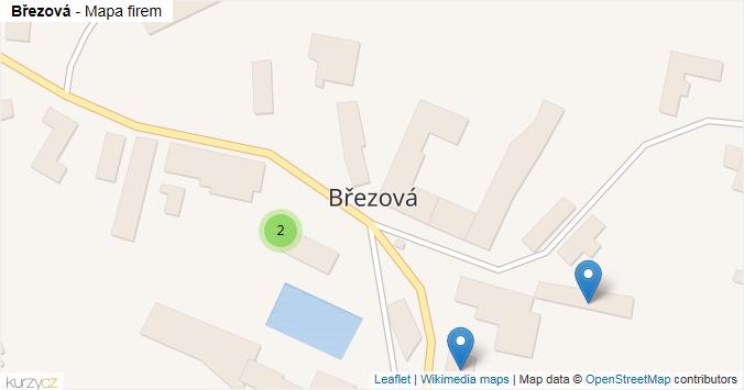 Březová - mapa rozložení firem v obci.