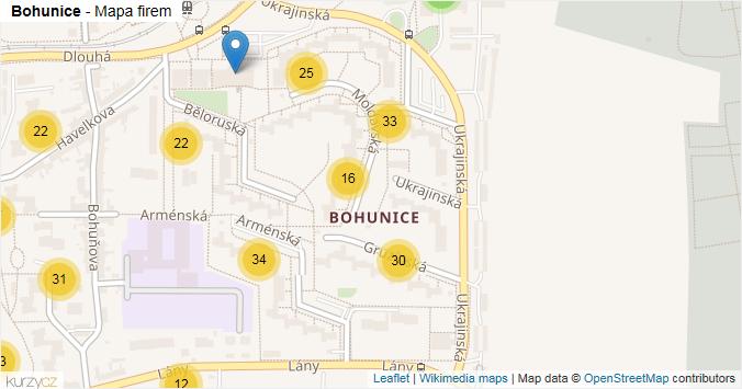 Bohunice - mapa rozložení firem v části obce.