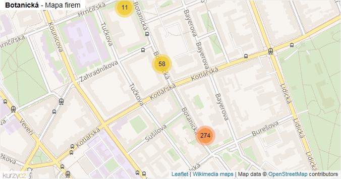 Botanická - mapa rozložení firem v ulici.