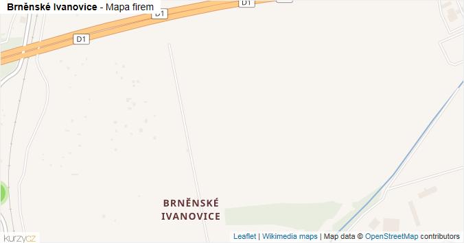 Brněnské Ivanovice - mapa rozložení firem v části obce.