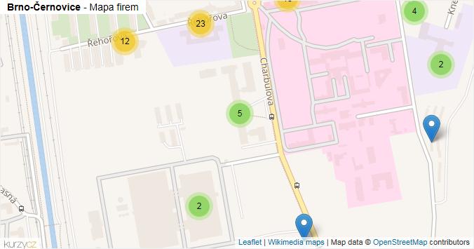 Brno-Černovice - mapa rozložení firem v městské části.