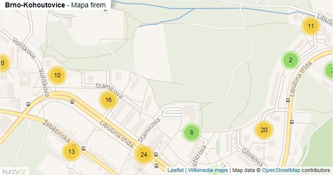 Brno-Kohoutovice - mapa rozložení firem v městské části.