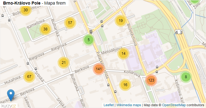 Brno-Královo Pole - mapa rozložení firem v městské části.