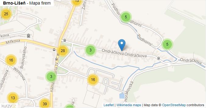 Brno-Líšeň - mapa rozložení firem v městské části.