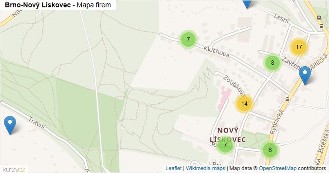 Brno-Nový Lískovec - mapa rozložení firem v městské části.