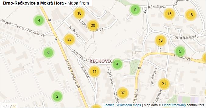 Brno-Řečkovice a Mokrá Hora - mapa rozložení firem v městské části.