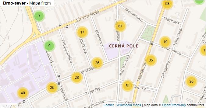 Brno-sever - mapa rozložení firem v městské části.