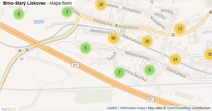 Brno-Starý Lískovec - mapa rozložení firem v městské části.