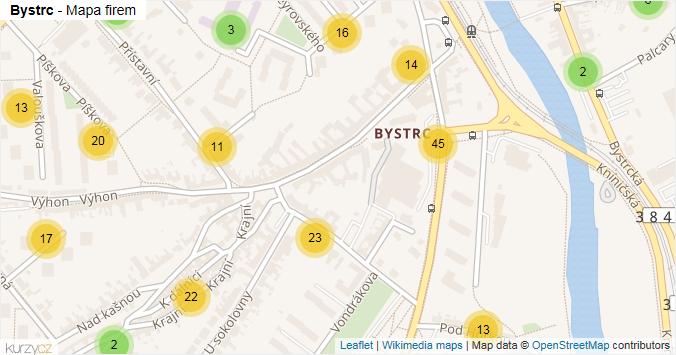 Bystrc - mapa rozložení firem v části obce.