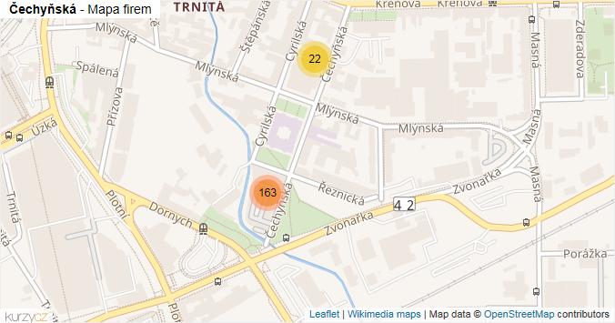 Čechyňská - mapa rozložení firem v ulici.