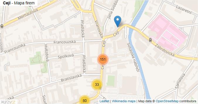 Cejl - mapa rozložení firem v ulici.