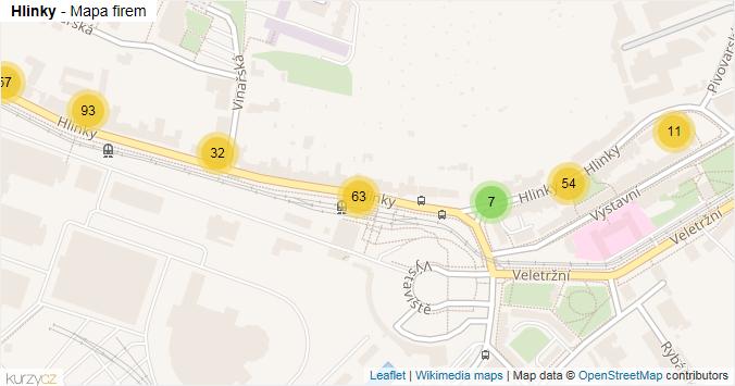 Hlinky - mapa rozložení firem v ulici.