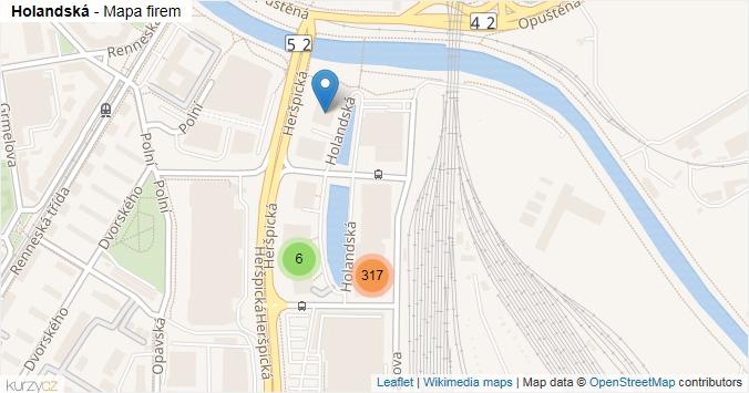 Holandská - mapa rozložení firem v ulici.