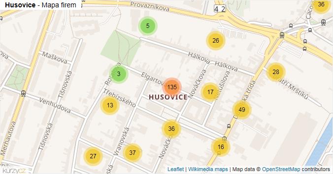 Husovice - mapa rozložení firem v části obce.