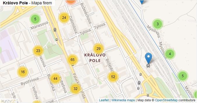 Královo Pole - mapa rozložení firem v části obce.