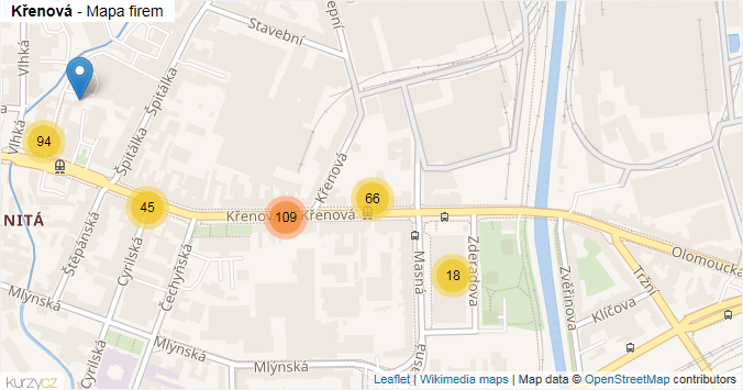 Křenová - mapa rozložení firem v ulici.
