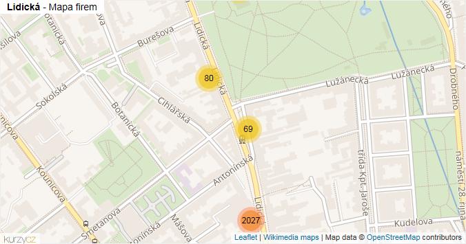 Lidická - mapa rozložení firem v ulici.