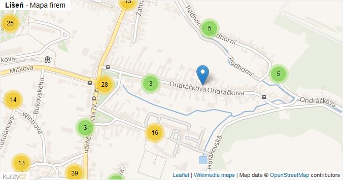 Líšeň - mapa rozložení firem v části obce.