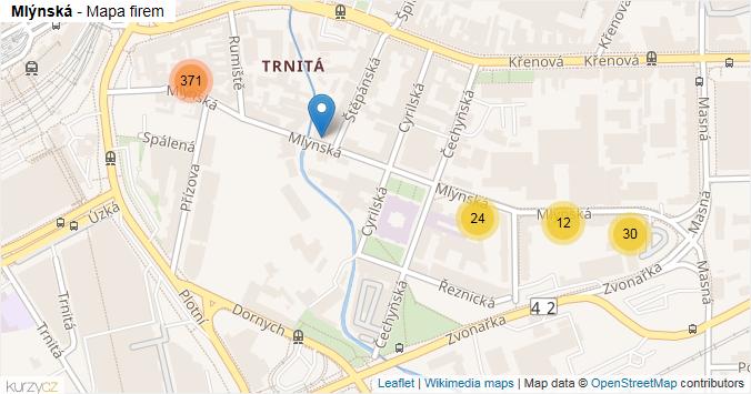 Mlýnská - mapa rozložení firem v ulici.