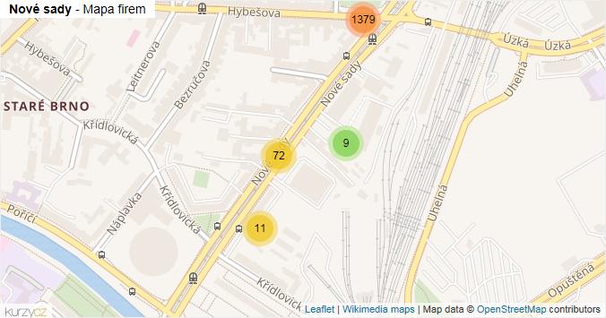 Nové sady - mapa rozložení firem v ulici.