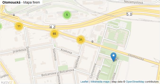 Olomoucká - mapa rozložení firem v ulici.