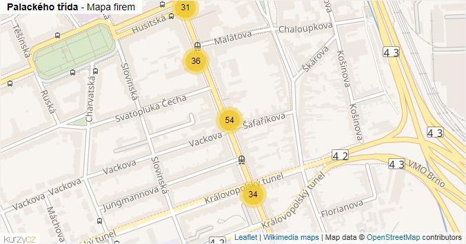 Palackého třída - mapa rozložení firem v ulici.