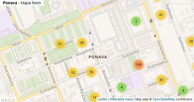 Ponava - mapa rozložení firem v části obce.
