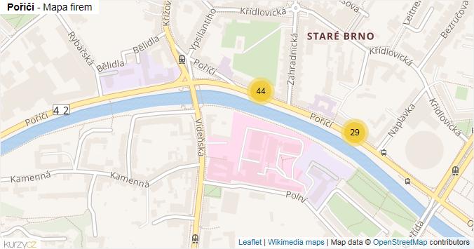 Poříčí - mapa rozložení firem v ulici.